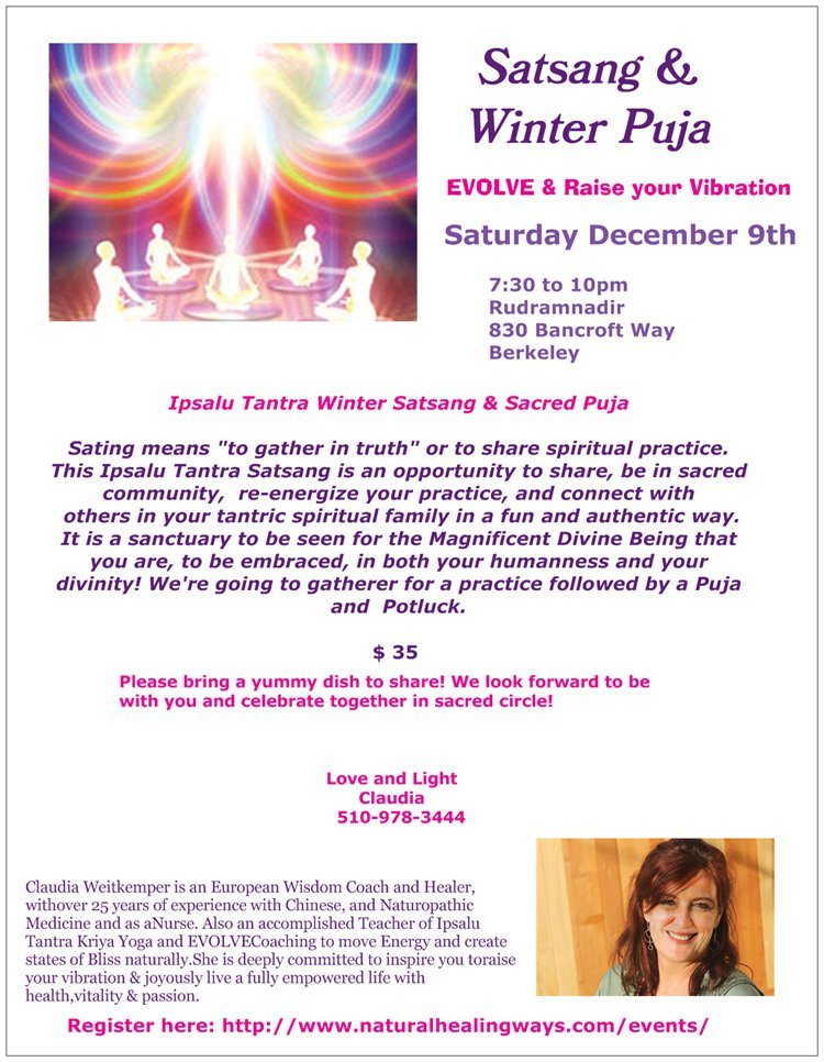 Satsang & Winter Puja - Saturday, Dec 9th @ Rudramandir | Berkeley | California | United States