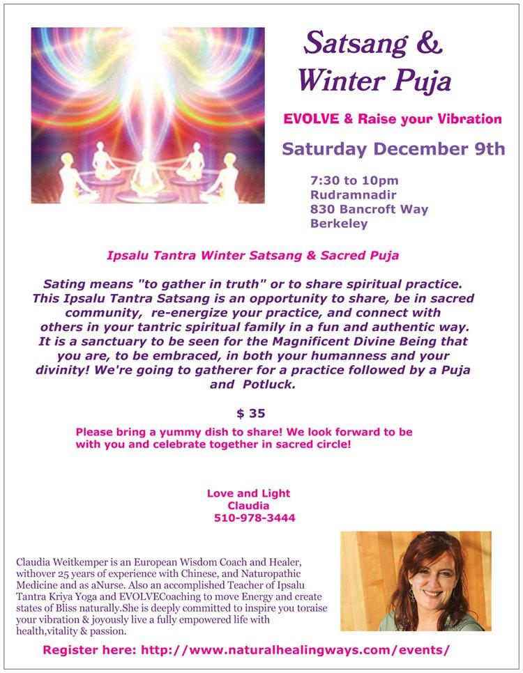 Satsang & Winter Puja - Saturday, Dec 9th @ Rudramandir | Berkeley | California | United States